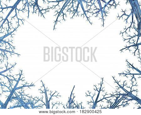 Crystal blue tree frame 3d illustration horizontal isolated over white