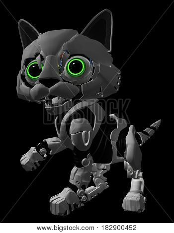 Robotic kitten glowing eyes 3d illustration vertical dark background