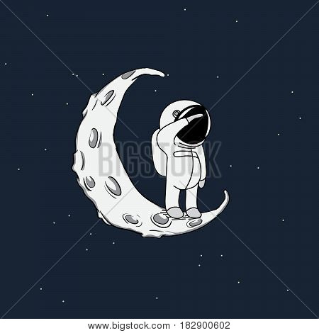 Little spaceman looking to infinity on crescent moon.Space explorer.Cosmic vector illustration