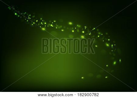 Green dark shiny sparkle background and swirl bokeh light horizontal background and empty place for objects. Gradient mesh. Vector illustration stock vector.