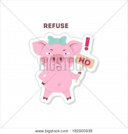 Pig says no. Isolated cute sticker on white background.