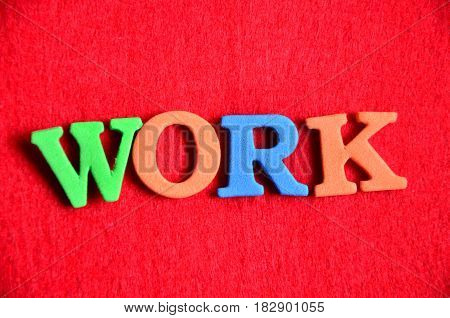word work on a  abstract red background