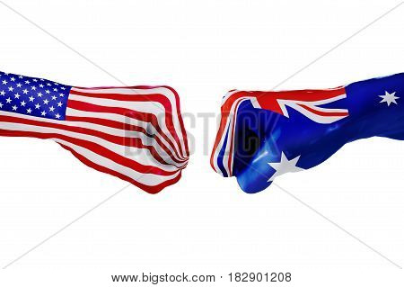 USA and Australia country flag. Concept fight war business competition conflict or sporting events isolated on white, 3D illustration