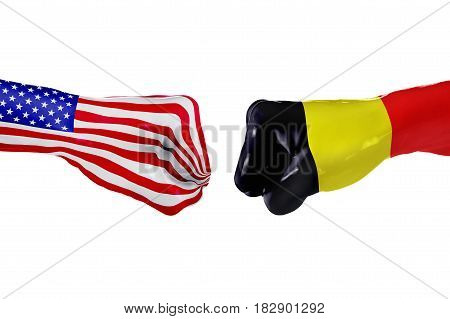 USA and Belgium country flag. Concept fight war business competition conflict or sporting events isolated on white, 3D illustration