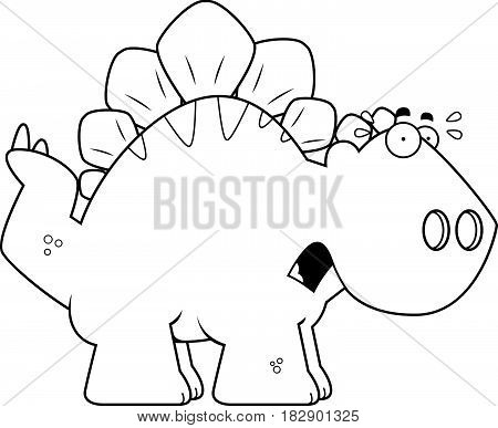 Scared Cartoon Stegosaurus