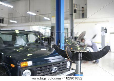 Kaluga, Russia - April, 20, 2017: Cars in a car repair station in Kaluga, Russia