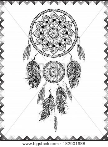 Dreamcatcher in frame, isolated vector illustration art