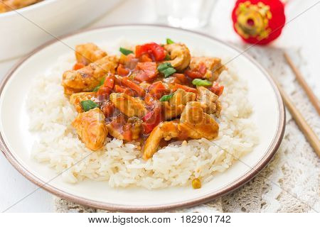 Sweet and sour turkey with bell peppers onions and carrots