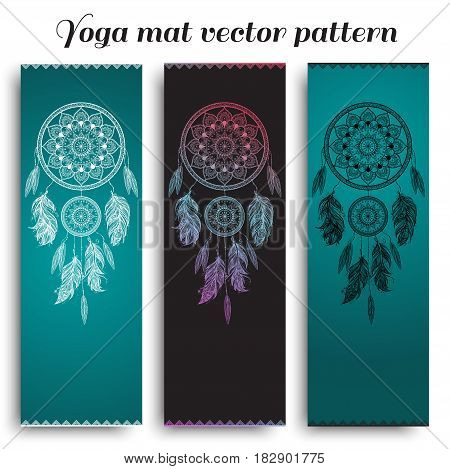 Set of yoga, pilates, meditation mats with hand drawn dreamcatcher pattern