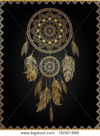 Golden dreamcatcher in frame, isolated vector illustration art