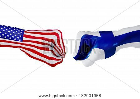USA and Finland country flag. Concept fight war business competition conflict or sporting events isolated on white, 3D illustration