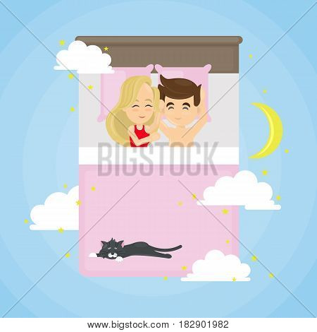 Sleeping couple with cat on the bed in clouds with moon.