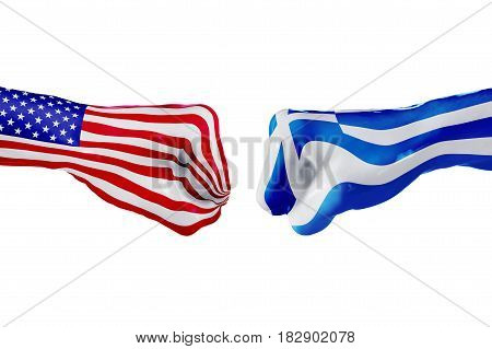 USA and Greece country flag. Concept fight war business competition conflict or sporting events isolated on white, 3D illustration