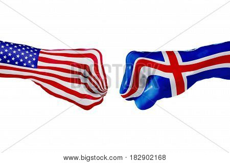 USA and Iceland country flag. Concept fight war business competition conflict or sporting events isolated on white, 3D illustration