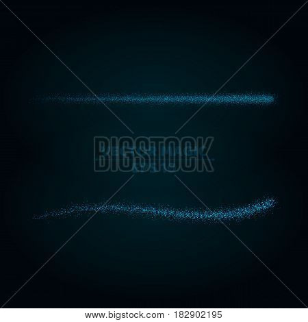 Magical blue stripes of bright and small particles on a dark background. Shining stars in motion. Pattern of highlights. A flying comet. Vector illustration. EPS 10