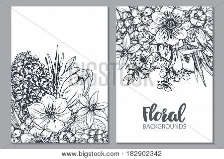 Floral backgrounds with hand drawn spring flowers and plants in sketch style.. Monochrome vector template for greeting cards, invitations.