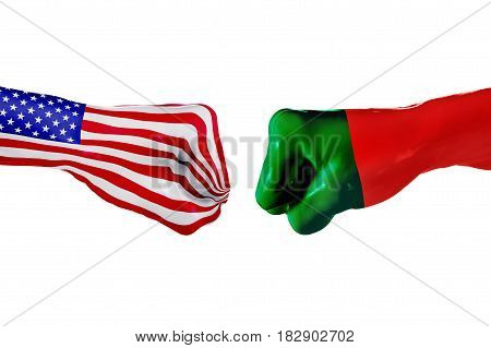 USA and Portugal country flag. Concept fight war business competition conflict or sporting events isolated on white, 3D illustration