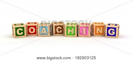 Coaching Text Cube (computer generated image) 3D Rendering