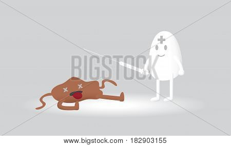 white blood cell defeat bacteria cartoon vector