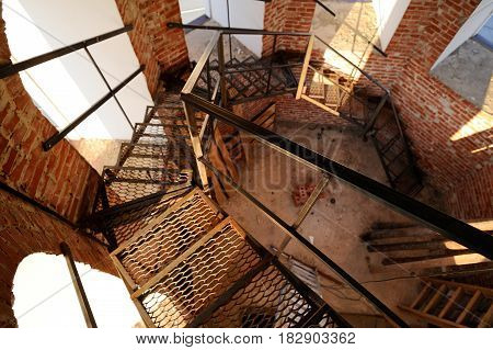Orel Russia - April 20 2017: Orthodox bell-ringing festival. Bell tower metal stairs inside