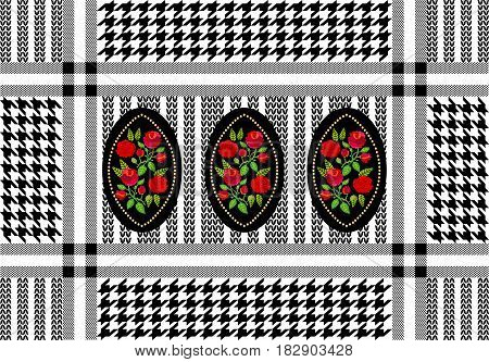 Checkered scarf with roses. Black, red, white.