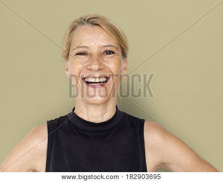Blond White Woman Smile Happy Black Shirt Studio Portrait