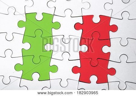 view of the italian flag puzzle. politic. italy.