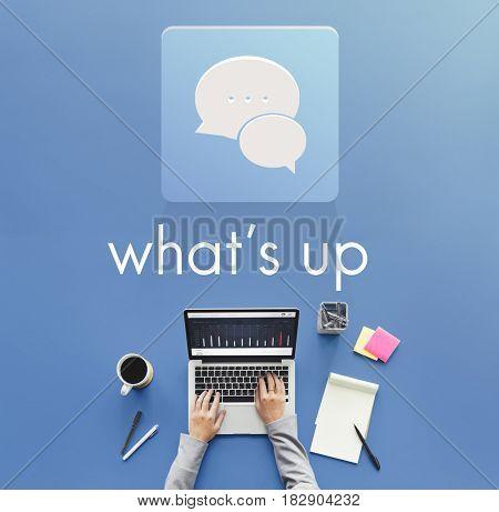 Hand Computer Chat Conversation Bubble Graphic