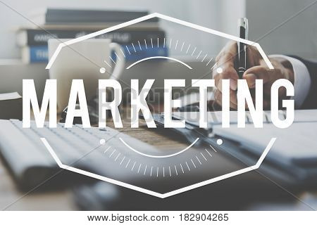 Marketing stamp on businessman working on the table
