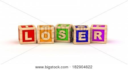 Loser Text Cube (computer generated image) 3D Rendering