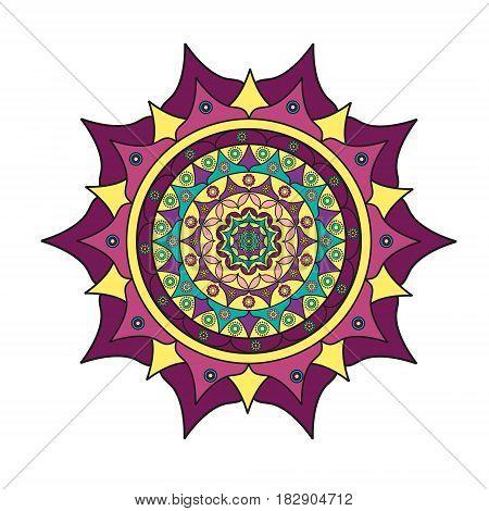 Colored beautiful mandala on a white background