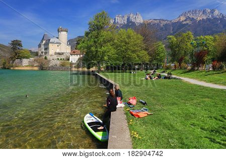 ANNECY, APRIL 18, 2017 - Duingt castle on the shores of Lake Annecy, France, Europe