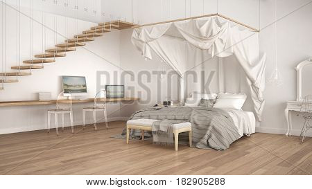 Canopy bed in minimalistic white bedroom with home workplace scandinavian classic interior design, 3d illustration