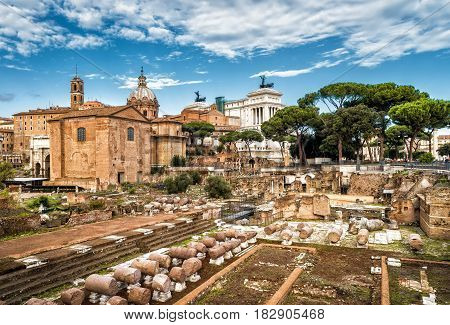 Ruins of the Roman Forum in summer, Rome, Italy. The Roman Forum is an important monument of antiquity and is one of the main tourist attractions of Rome.
