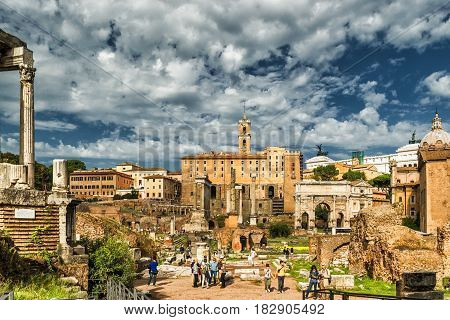 ROME - OCTOBER 1 2012: Ruins of the Roman Forum. The Roman Forum is an important monument of antiquity and is one of the main tourist attractions of Rome.