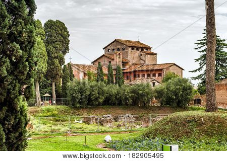 Ancient villa on the Palatine Hill in Rome, Italy. Palatino is the centremost of the Seven Hills of Rome.