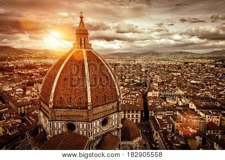 Florence skyline at suset, Italy. The Basilica di Santa Maria del Fiore in the foreground. This is the main church and the symbol of Florence.