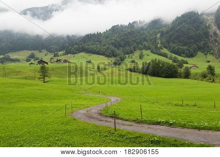 Foggy morning in the Swiss Alps. Mountain valley with village covered with green grass. Clouds lay on the ground. Glarus canton. Landscape of Switzerland
