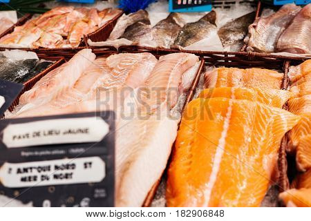 Supermarket stall with Salomon and Coalfish Pollachius virens raw fish - fresh fish counter full with diverse - organic fish meat