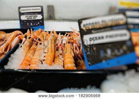 Focus on the merchandise - Supermarket stall with raw crevettes langoustines fresh fish counter full with diverse organic fish meat from Nor-East Atlantic Ocean