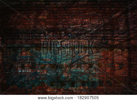 Dark abstract grunge background. Texture of brick and abstract lines