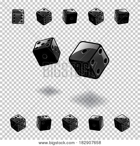 Vector dice gambling template. Black cubes in different positions on transparent background.