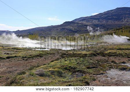Volcanic Iceland, Geysir landscape near Reykjavik in Icelande