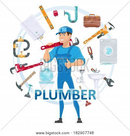 Colorful plumbing round concept with plumber repair tools equipment toilet washing machine pipes boiler sink isolated vector illustration