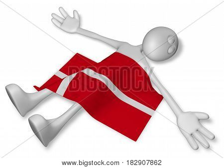 dead cartoon guy and flag of denmark - 3d illustration