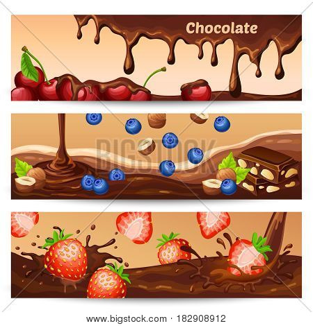 Cartoon chocolate horizontal banners with drops flow splashes pieces cherries bilberries strawberries and hazelnuts vector illustration