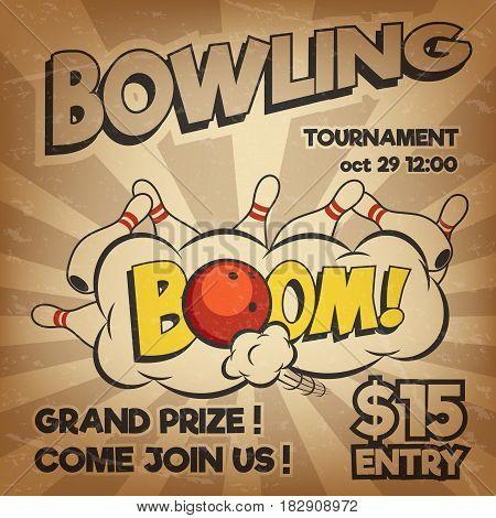 Pop art bowling illustration on a vintage background. Bowling strike. Retro bowling tournament poster design concept. Vector illustration.