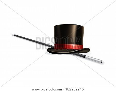 Realistic cylinder hat with stick isolated on white background.