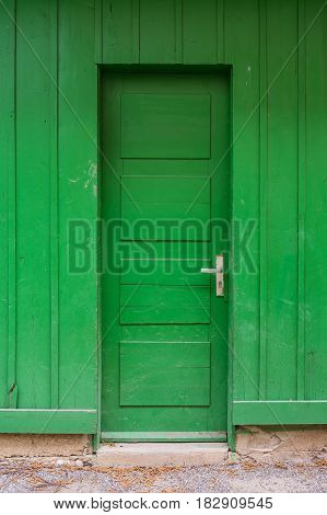 Bright Green Wooden Door Abstract Lime Farm Shed Entrance Closed Stand Colorful