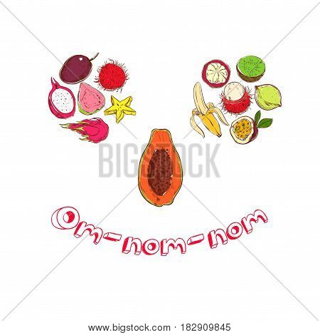Colored sketch exotic fruits concept with mangosteen banana kiwi papaya carambola guava rambutan passionfruit dragonfruit in smile shape vector illustration
